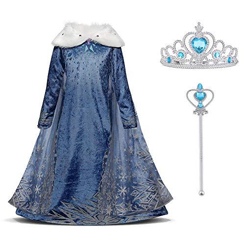 URAQT Mädchen Anna Kostüm Kleid mit Schneeflocke Plüschkragen, Kinder Prinzessin Kostüm für...