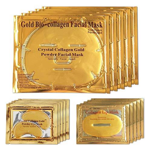 24K Gold Bio Collagen Crystal Face Mask + Eye Mask + Lip Mask Set, Anti ageing Anti-Wrinkle Dark...