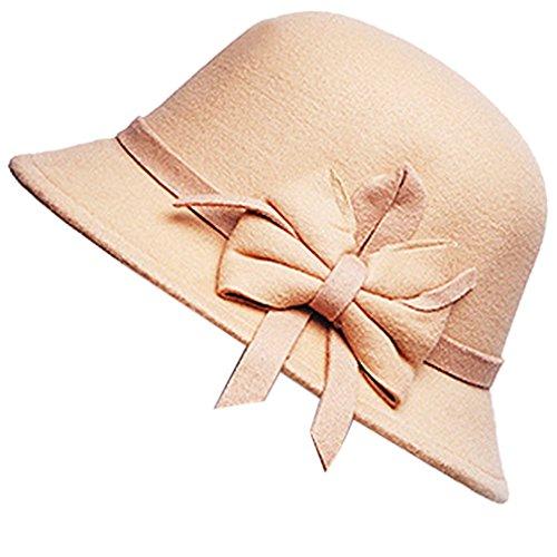 Belsen Damen wollen Bogen Temperament Schlapphut Mütze Fischer Hut (beige)
