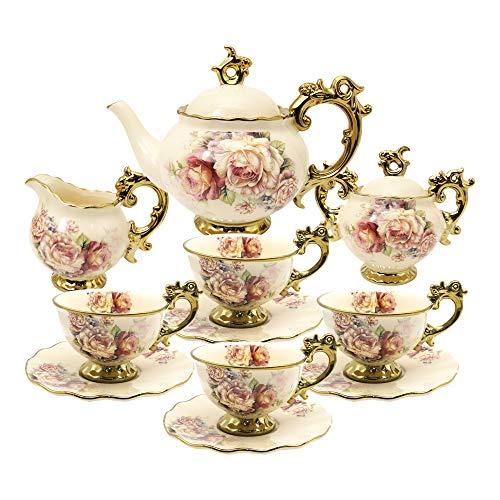 fanquare 15 Stück Rose Blumen Englische Keramik Tee Sets, Vintage China Kaffee Set, Tee Service...