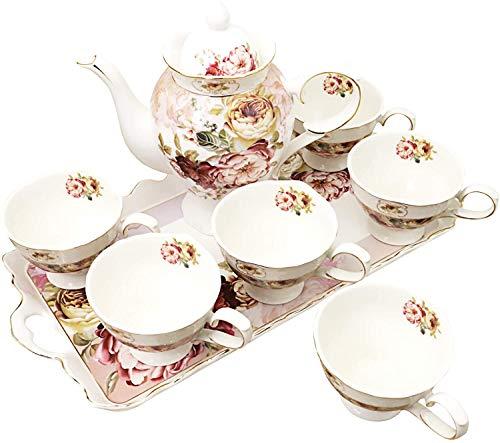fanquare 8 Stück Britisches Porzellan Tee Sets, Rot Blumen Vintage China Kaffee Set, Tee Service...