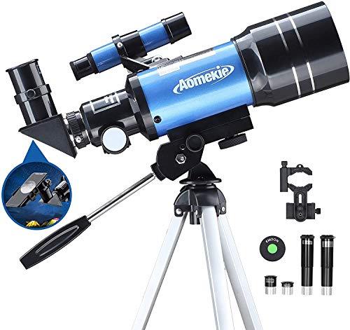 Aomekie Astronomisches Teleskop Kinder Einsteiger 70MM Telescope Astronomy mit Smartphone Adapter...
