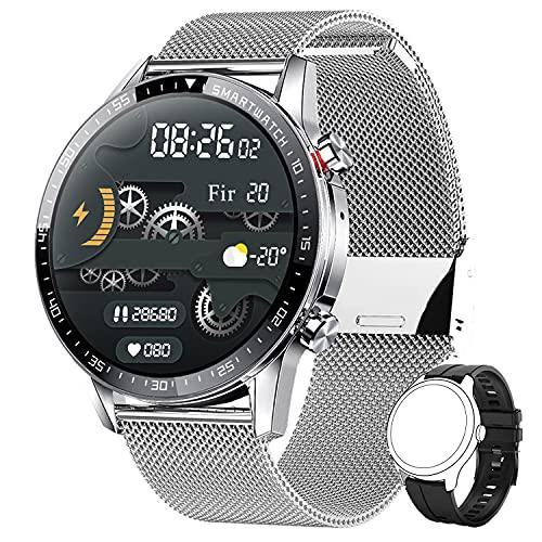 Smartwatch Herren,Phipuds Smart Armbanduhr Männer Fitness Tracker Smart Watch Rund Fitnessuhr...