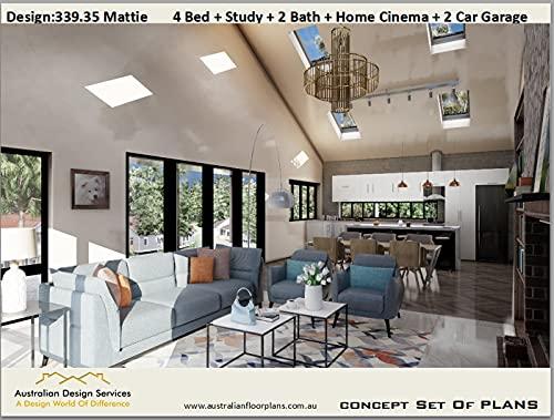 House plan 339.35 Mattie- full architectural set of concept plans: 4 Bed + Study + 2 Bath + Home...