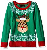 Blizzard Bay Mädchen L/S Crew Neck Christmas Reindeer Sweater Pullover, Grün/Rot/Rentier, X-Large