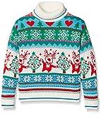 British Christmas Jumpers Mädchen Girls Roll Neck Christmas Jumper Pullover, Weiß (Multicolour),...
