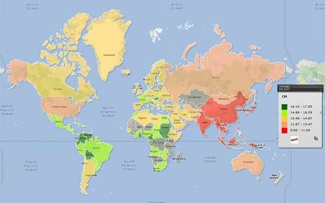 Povprečna velikost penisa v centimertih ter po državah sveta