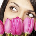 beautiful female face tulips