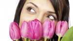 beautiful female face tulips