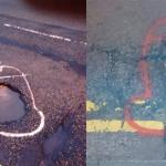 Wanksy je s penisi okoli lukenj na cesti zganil mestne oblasti.
