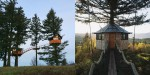Boemska drevesna hiška Cinder Cone nad skateparkom.