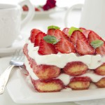 Strawberry tiramisu with mascarpone.