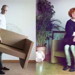 Hitro sestavljivi kavč narejen iz kartona.