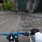 Nor spust Slovenca po jezu s kolesom