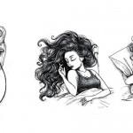 Plastičen prikaz težav, ki jih imajo dekleta z dolgimi lasmi.