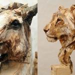Lesene skulpture živali izrezljane z motorno žago.