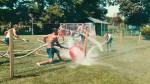 Curkomet je gasilski nogomet, ki se igra s cevmi.