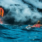 Surfanje v neposredni bližini lave.