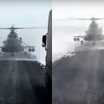 Helikopter pristane sredi ceste.