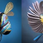 Na tisoče drobnih kosov razrezan papir, iz katerega so nastali ti prikupni modeli živali.