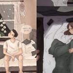 Najbolj prijetni trenutki med pari ujeti v prikupne ilustracije.