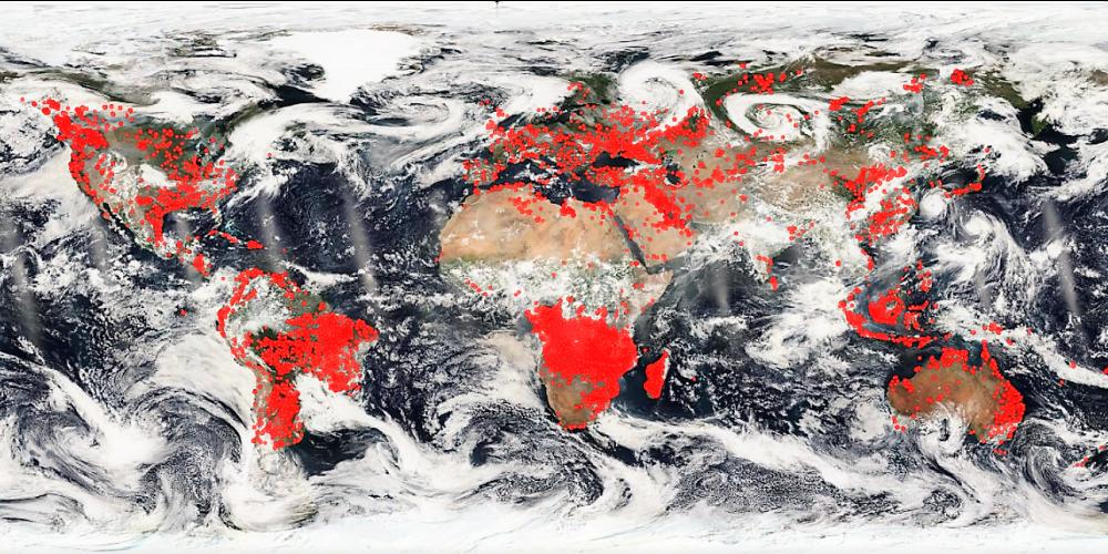 satelitska mapa sveta Apokaliptična satelitska slika Nase kaže svet v ognju | CityMagazine satelitska mapa sveta